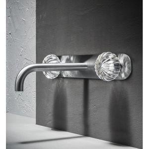 Rubinetto per lavabo in acciaio inox a muro di design con manopole in vetro di murano a zucca modello Dorin - Radomonte - Edilvetta Verona