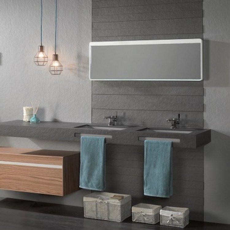 pannelli effetto ardesia akron 3d per rivestire pareti bagno abbinate a mobile bagno acquabella edilvetta