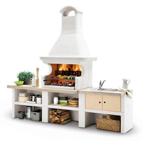 Barbecue componibile malibu 2 a gas legna e carbonella for Barbecue oslo palazzetti